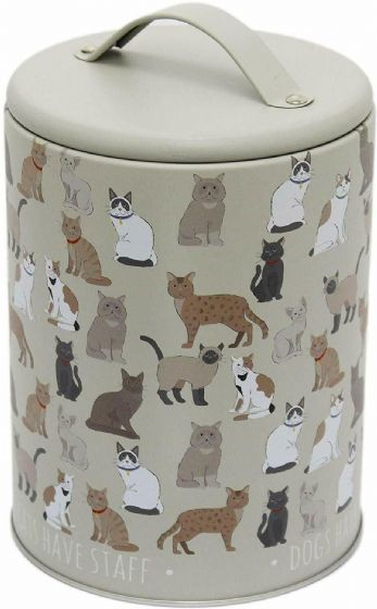 Oak Tree Large Cat Treat Food Storage Tin Jar with Lid With Cat Design